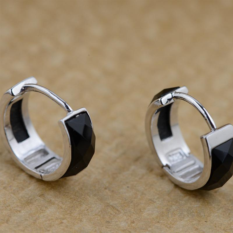 S925 sterling silver handmade natural black onyx inlay earrings ear ring  buckle cut simple temperament female