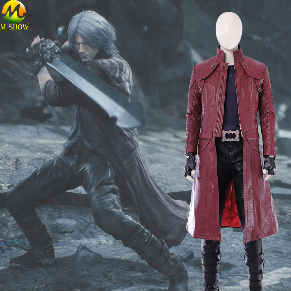 DMC 5 Dante Cosplay Costume Dante Cosplay Red Leather Jacket Halloween Costumes For Men Custom Made