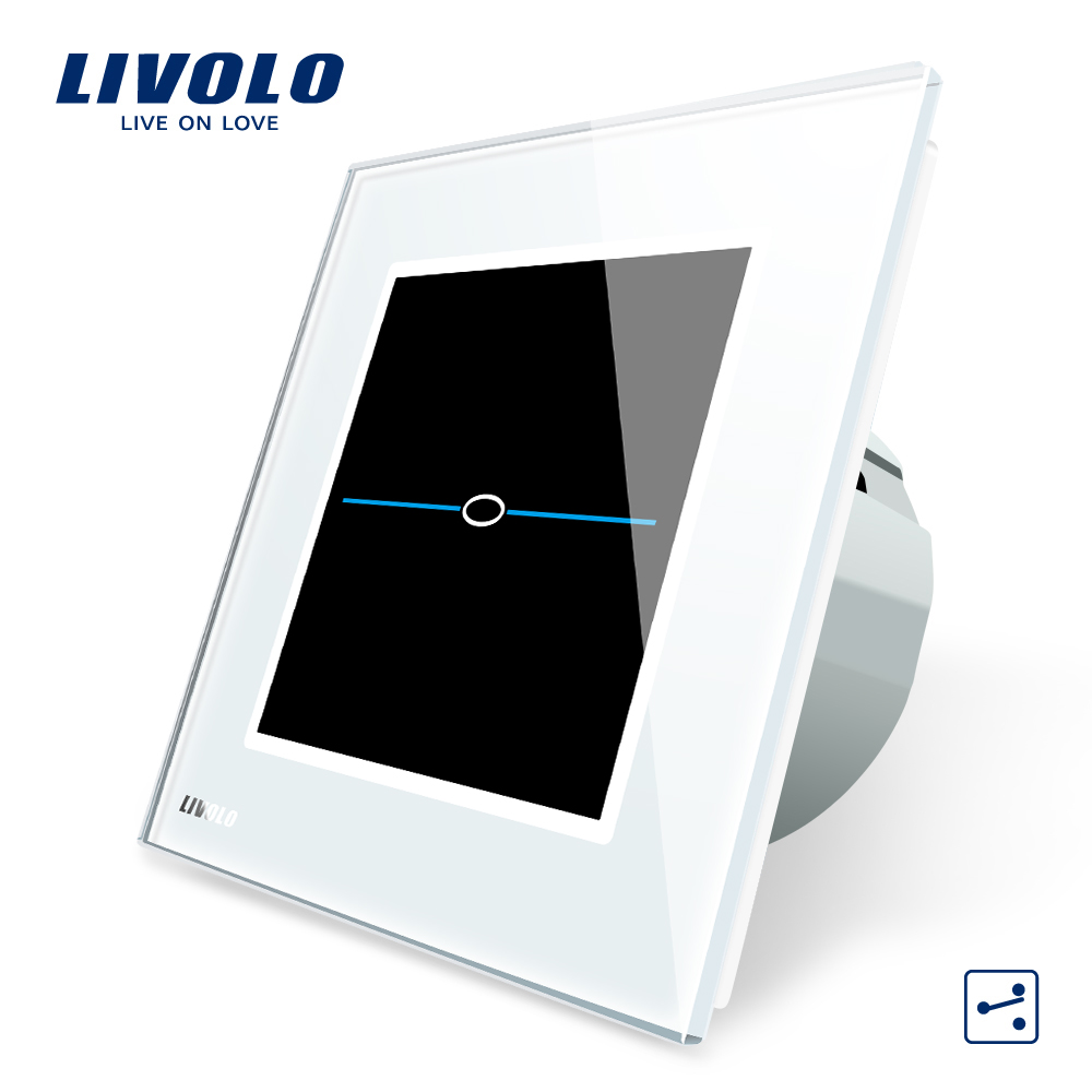 Livolo EU Standard,  220-250VVL-C701S-31, White Crystal Glass Panel, 1 Gang 2 Way  Wall Light Touch Screen Switch+LED Indicator smart home eu touch switch wireless remote control wall touch switch 3 gang 1 way white crystal glass panel waterproof power