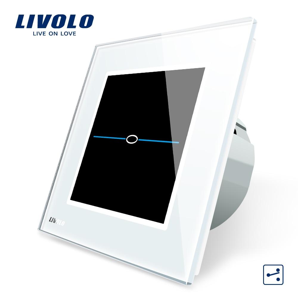 Livolo EU Standard,  220-250VVL-C701S-31, White Crystal Glass Panel, 1 Gang 2 Way  Wall Light Touch Screen Switch+LED Indicator 2017 smart home eu standard wireless switch 1gang 2 way remote switch white crystal glass panel 220 250v led indicator