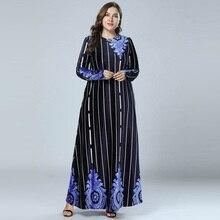 New 2018 Winter Print Velour Abaya Muslim Dress Arabic Abayas Long Sleeve  Pakistani Dubai Islamic Warm 66cd26716b17