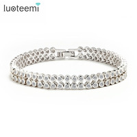 2015 Top Quality Luxury 2 Rows Round White Cubic Zircon Tennis Bangles For Women Noble Office