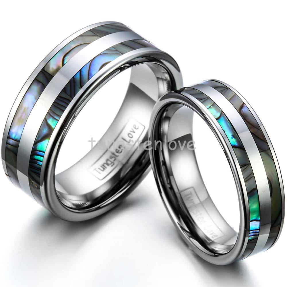 High Polish Tungsten Engagement Rings Set with Double Abalone Inlay for Couples Wedding Bands 1PCS
