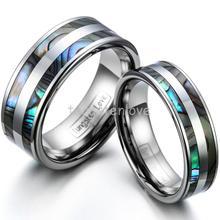 High polish tungsten anillos de compromiso conjunto con doble incrustaciones de abulón para parejas de la boda bands-1 pcs