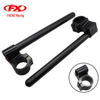 7 8 22mm FX Black 31 39mm CNC Universal Aluminum Motorcycles Adjustable Clip On Ons HandleBar