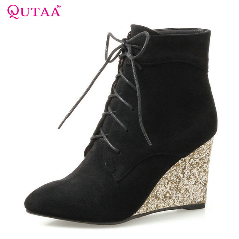 QUTAA 2018 Women Ankle Boots Wedges Heel Pink Fashion Lace Up Pointed Toe Westrn Style New Spring/Autumn Women Boots Size  34-42 spring autumn new fashion women pointed toe patchwork color ankle high heel boots western style elegant dress boots