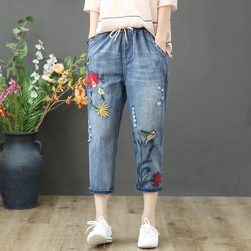 Vintage Embroidered Capris Jeans For Women Flower Female Loose Denim Pants Ripped Hole Pantalon Femme