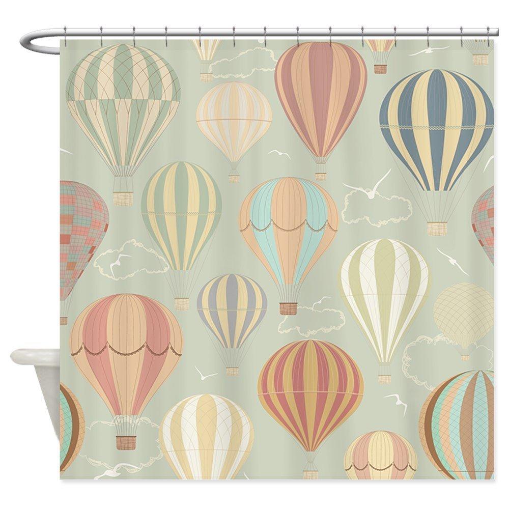 Vintage Hot Air Balloons - Decorative Fabric Shower Curtain (69x70)