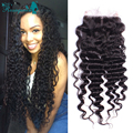 "6A Grade 100% Human Hair Free Middle 3 Part Lace Closure Bleached Knots Virgin Peruvian Deep Wave Lace Closure 10""-20"""