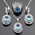 Oval Light Blue Created White CZ Silver Color Jewelry Sets For Women Drop Earrings/Necklace/Ring/Pendant Free Gift Box