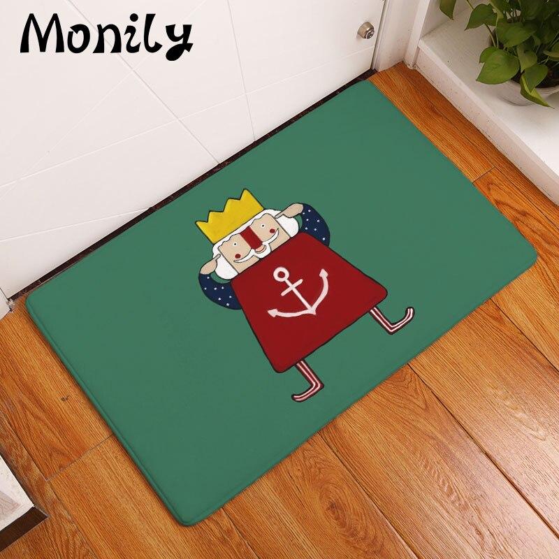 Monily Nordic Flannel Waterproof Floor Mat Cartoon Emperor Anchor Carpet Bedroom Rugs Decorative Stair Mats Home Decor Crafts