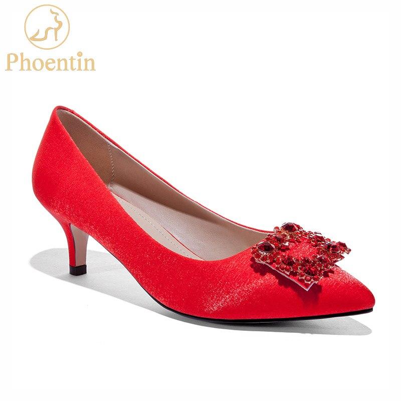 Phoentin rouge luxe cristal femmes chaussures de mariage pompes chaton talons pour dames 2019 sans lacet peu profonde doux femmes chaussures FT616