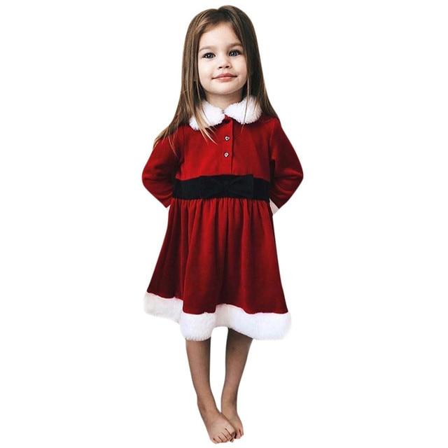 f621a62f08fb Christmas Dress Girls Infant Kids Baby Girls Solid Long Sleeve ...