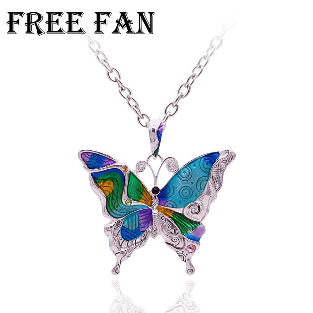 Free Fan Maxi Statement Metal Alloy Choker Butterfly Necklace Boho Collar Pendant Necklace Fashion Enamel Jewelry Women Gift