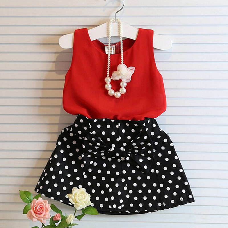 Children Girls Clothing Red Chiffon Vest Dot Black Skirt Kids Suits For 2 3 4 5 6 Year Girl Summer Casual Toddler Child Costume(China)
