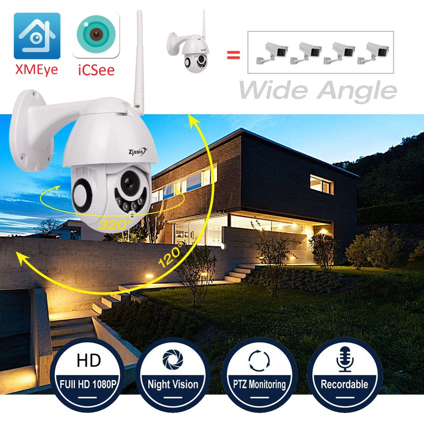 Zjuxin Wireless ip camera wi-fi 1080 p 2MP casa di Sicurezza surveilance camera hd 360 esterna del CCTV PTZ Onvif ipcam camara exterieur