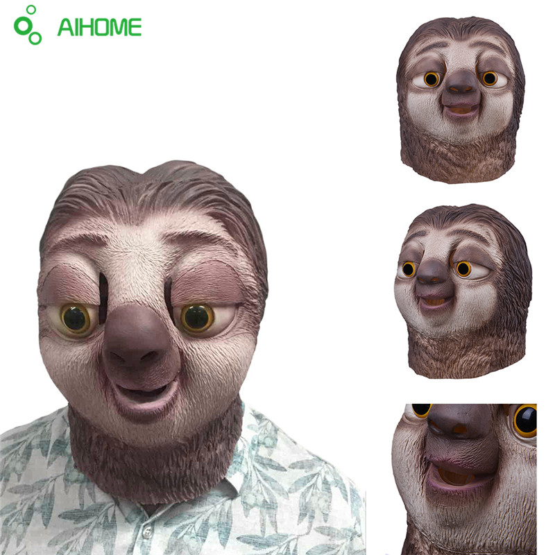 Halloween Party Masks Zootopia Sloth Mask Nick Wilde Latex Full Face Head Animal Mask Costume Cosplay Prop Accessories Festival