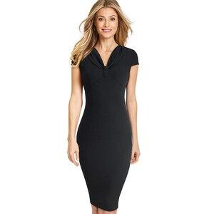 Image 3 - נחמד לנצח אלגנטי בציר טהור צבע שווי שרוול vestidos המפלגה עסקי Bodycon משרד עבודת נשים נשי שמלת B503