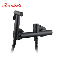 Smesiteli Wholesale Brass Matte Black Finish Toilet Portable Bidet Shower Set With Hot and Cold Water Mixer Handheld