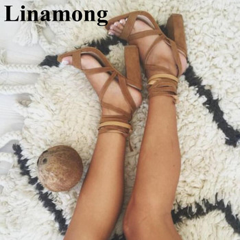 2019 Newest Square Heel  Flock Cross-tied Summer Fashion Sandals Open Toe Two Color Sexy Women 10cm High Heel Sandals