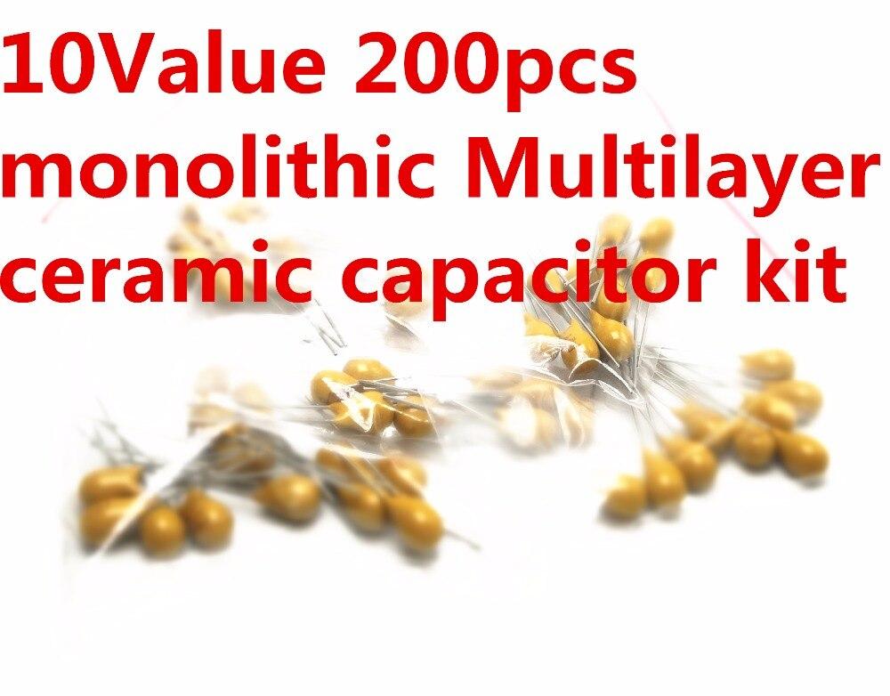 Kit d'assortiment de condensateurs céramiques, 50V, 10pF, 20pF, 30pF, 47pF, 56pF, 68pF, 100pF, 1nF, 10nF, 100nF, mono-couches, bon prix