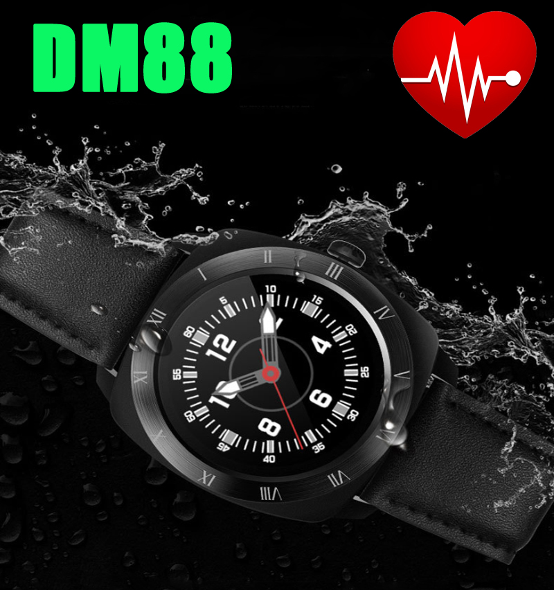 ФОТО 3Pcs/lot, DHL Free Leather & Metal DM88 Smart Watch Phone 1.22