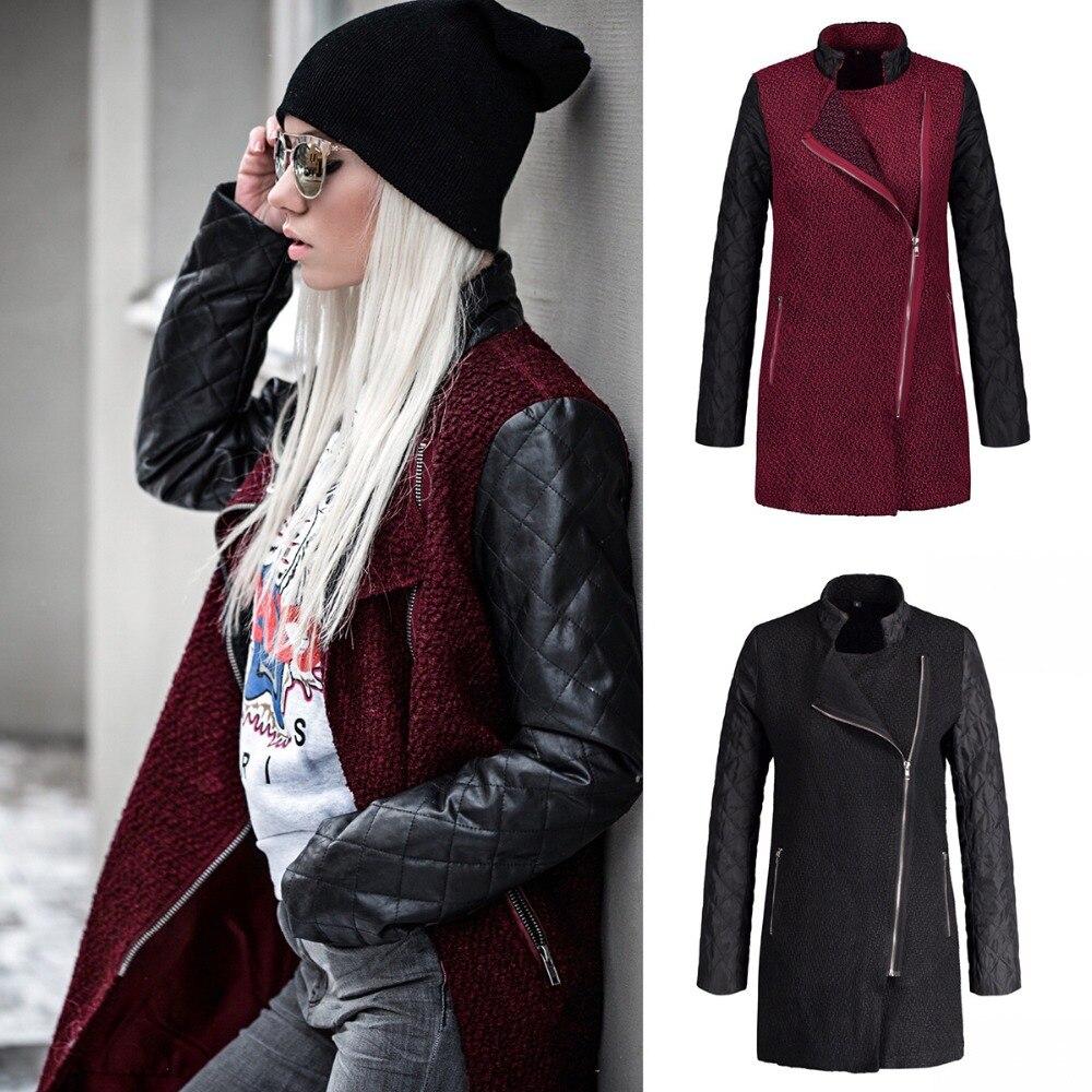 Fashion Women Patchwork Long Wool PU   Leather   Sleeve Jacket Coat Windbreaker Casual Overcoats Outerwear Street Style SD22Q321A