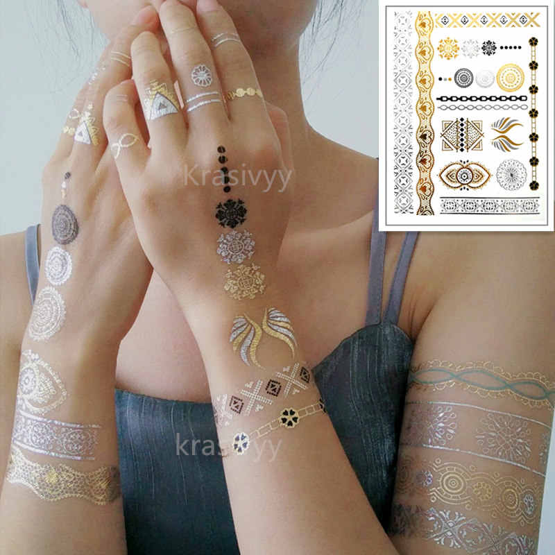 Flash Tattoos Gold Silver Metal Temporary Tattoos Gold necklace Feather  Tattoo fake tattoo make up girl cover scar Wholesale