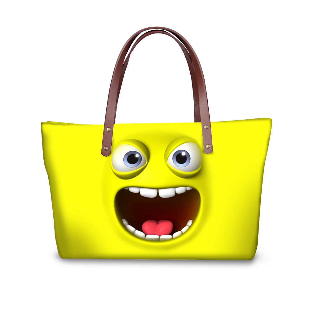FORUDESIGNS Kawaii Emoji Pattern Purses And Handbags,Women's Handbag Portable Shop Online Handbag,Smile Face Print Tote Bolsas