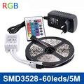 RGB LED Свет Прокладки SMD3528 DC12V Гибкие Светодиодные Ленты Лампы 60LED/м 5 м Не водонепроницаемый, 2А Питания, ИК-Пульт дистанционного управления