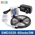 RGB LED Luz de Tira SMD3528 DC12V Flexível Luzes LED Fita Lâmpada 60LED/m 5 m Não-impermeável, fonte de Alimentação 2A, Controlador Remoto do IR