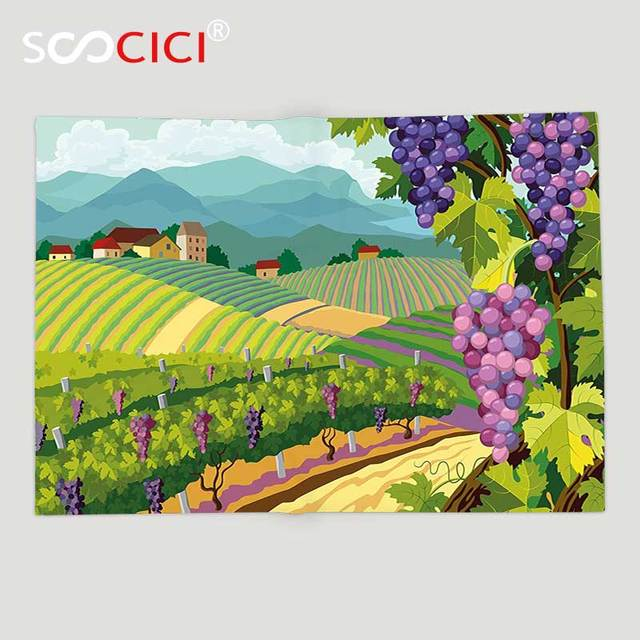 Custom Soft Fleece Throw Blanket Grapes Rural Landscape With Houses Delectable Italian Throw Blanket