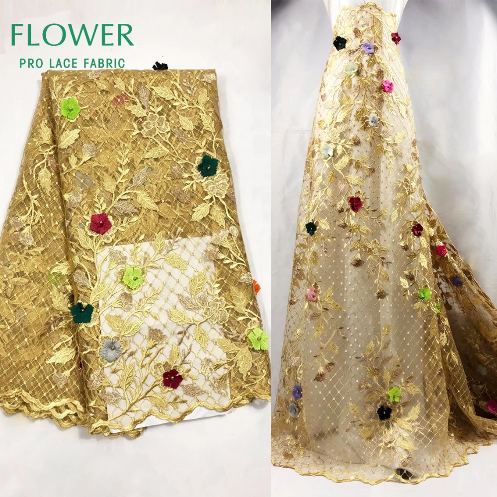 Colorful 3D Flower Guipure Net Lace Beads Fabric African Gold Line Embroidery Mesh Tulle Wedding Fabric