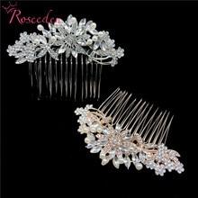 цена на Trendy Bridal Wedding Hair Comb Accessories Rhodium Crystal Flower Bridal Hair Combs Hair Jewelry For Women RE3071