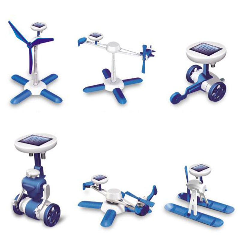 6 IN 1 Solar Toy Educational DIY Robots Plane Kit Creative Children Kid Gift Toys 998