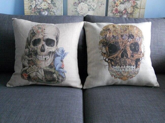 Angels Frog Skull Pillow , Skull Cushion ,linen Pillowcase Home Decorative Sofa Cushions