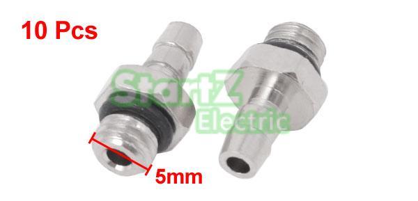 10 Pcs 6mm Pneumatic Tube to M5 Male Thread Hose Mini Barb Fittings M-5AU-6 uxcell 10 pcs m5 male thread to 4mm 5 32 pneumatic tube hose mini barb fittings