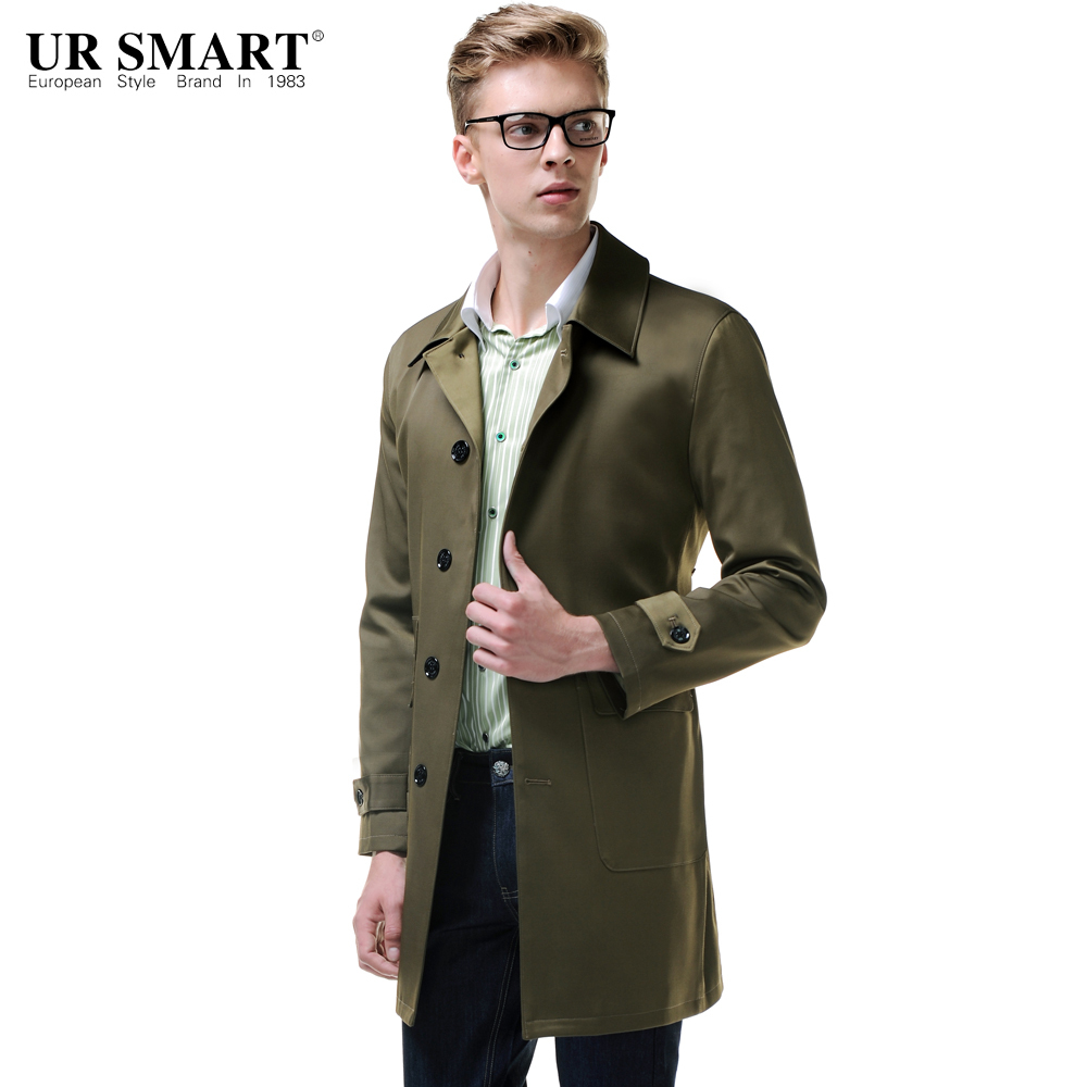 URSMARTEuropean clássica homens patch bolso single-breasted revestimento de poeira verde oliva masculino trench coat