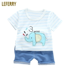 hot deal buy 2018 new summer elephant kids clothes baby boys clothing sets striped t shirt + jeans toddler boys clothing knitted denim shorts