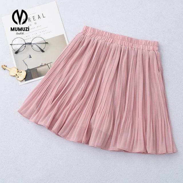 9516c3960 New Puff Women Chiffon Tulle Skirt White faldas High waist Midi Knee Mini Skirt  Chiffon Grunge Jupe Female Tutu Skirts
