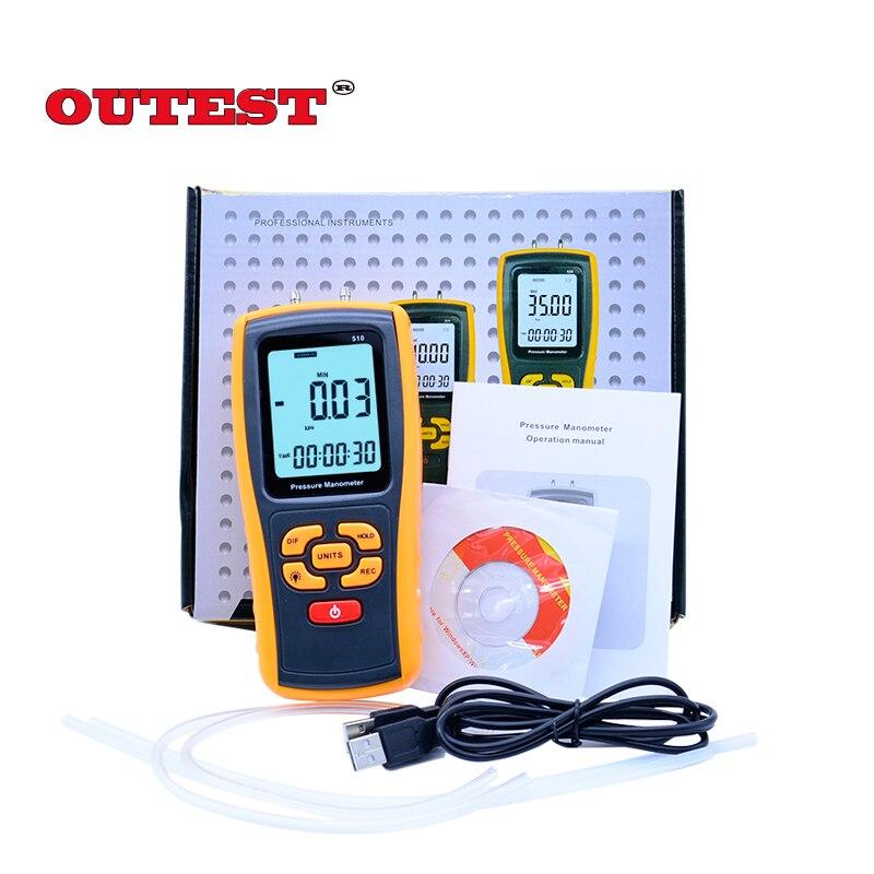 GM510 Pressure manometer 10KPa Pressure differential manometer pressure gauge Digital LCD Backlight display benetech gm510 2 6 lcd handheld pressure manometer orange black 4 x aaa