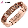 "Rainso Fashion Jewelry Healing FIR Magnetic 316L Stainless Steel Bracelet For Men Or Women Accessory 8.5"" Rose Gold OSB-1537"