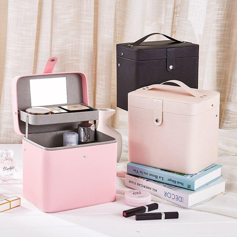 Cortex Jewelry Box Make Up Makeup Cosmetics Organizer Storage Drawer Pill Container High Capacity Portable