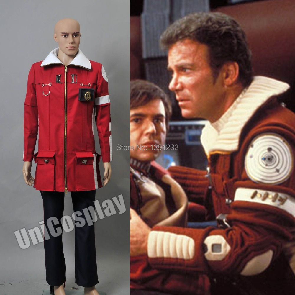 <font><b>Star</b></font> <font><b>Trek</b></font> II The Wrath <font><b>of</b></font> <font><b>Khan</b></font> Admiral Kirk Field Cosplay Costume Red Coat and black Pants