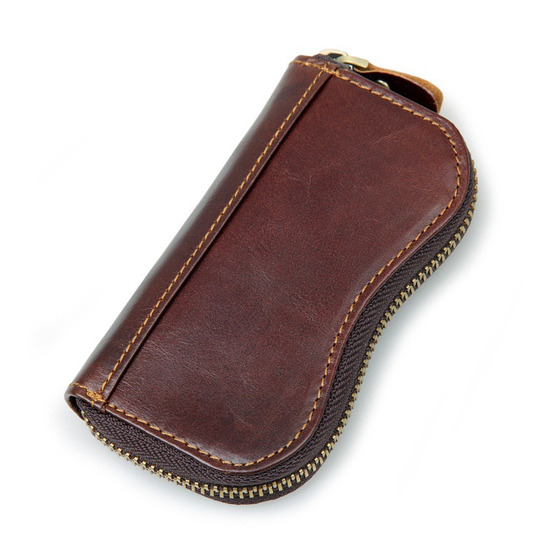 Dreamlizer Vintage Genuine Leather Key Wallet Keychain Cover Retro Zipper Keys Case Organizer Key Holder Housekeeper