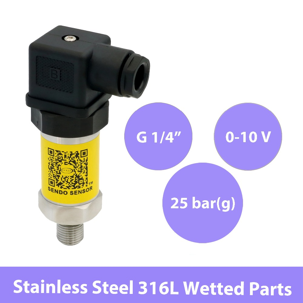 3 wires 0 10V sensor pressure sensors, <font><b>DC</b></font> <font><b>12</b></font> <font><b>30V</b></font>, 0 25bar gauge, pneumatic or hydraulic, G1 4, stainless steel 316L wetted parts image