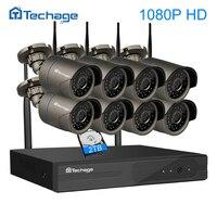 Techage 8CH 1080จุดFULL HDไร้สายNvr WIFIกล้องวงจรปิดระบบกลางแจ้งกันน้ำP2P 8ชิ้น2MPกล้องIP
