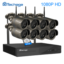 Techage 8CH 1080P FULL HD Wireless NVR Kit WIFI CCTV System Outdoor Waterproof P2P 8PCS 2MP IP Camera Security Surveillance Set