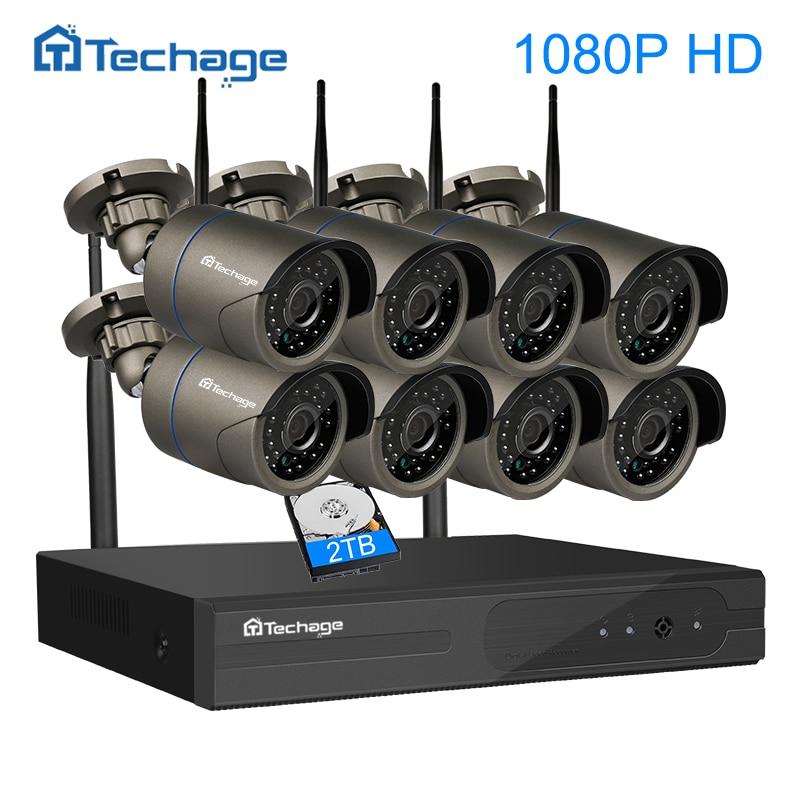 Techage Kit NVR 8CH 1080 P FULL HD Sem Fio WIFI CCTV sistema P2P 8 PCS 2MP IP Câmera de Segurança de Vigilância Ao Ar Livre À Prova D' Água conjunto