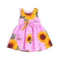 Moda dziewczyna sukienki bawełniane sunflower drukowane dzieci sukienka bez rękawów casual ubrania dla dzieci tutu sukienki dla dziewczynek 2-7 yrs